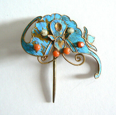 Qing Dynasty Kingfisher Feather Hair Pin Antique Coral Ca. 1850 Tian-tsui 點翠