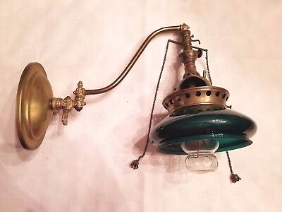 Rare Ornate Antique Reflex Welsbach Brass Inverted Gas Wall Lamp w/Green Shade
