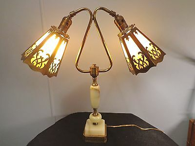 Vintage Brass, White Onyx and Stained Glass 2 Light Lamp,Post-1940 Gold