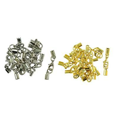 24pcs Crimp Clamp Clip Cord End Cap Connector Lobster Clasp Jewelry Finding
