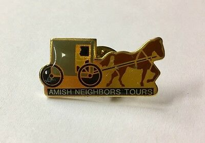 Rare Vintage AMISH NEIGHBORS TOURS Horse & Buggy Tie Tack Lapel Pin