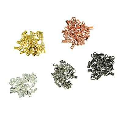 60Pcs Crimp End Caps for Cords Leather 9 x 4mm Gold Silver Rose Gold Plated
