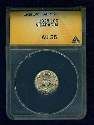 Nicaragua 1928 10 Centavos, Certified  Anacs Au55, Just About Mint State!!!