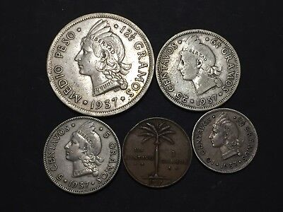 Dominican Republic 1937 1/2  Peso, 25, 10 And 1 Cent Coins Lot First Year Issue