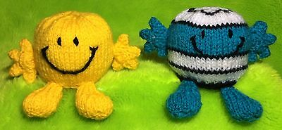 KNITTING PATTERN - Mr Happy and Mr Bump inspired choc orange cover/ 7cms Men toy
