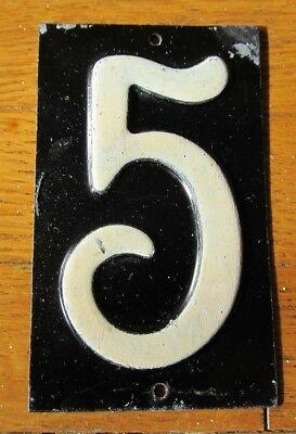 "Antique 1940s Vintage ENAMEL HOUSE NUMBER # 5 Mailbox CRAFTS 3 3/4"" x 2 1/8"""
