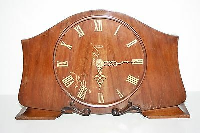 Old Wooden Smiths 7Jewels Mantle Clock - Not Working - Sold as Spares or Repairs