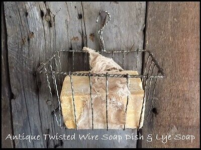 Antique vtg Wire Hanging Soap Dish Holder & Lye Soap Bar Stained Cheesecloth Tie