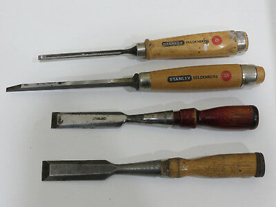 Lot of 4 Vintage STANLEY CHISELS
