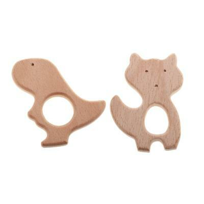 2pcs Wooden Fox Dinosaur Animal Shape Teether Baby Teething Ring Chew Toy