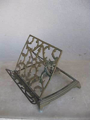 Awesome Antique Heavy Brass Cook Hymnal Reading Adjustable Book Rack Holder RARE