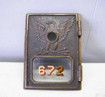 Vtg Post Office Box Door Patina Brass Federal Eagle 1892-1895 NO LOCK KEY LATCH