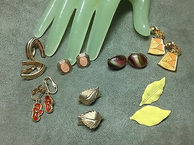Vintage Lot of 7 Multi Shape Beaded Style Setting Clip on Earrings