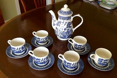 Churchill Blue Willow Coffee Pot with 6 Cups & Saucers Made in England