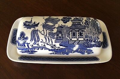 Churchill Blue Willow Covered Butter Dish Made in England
