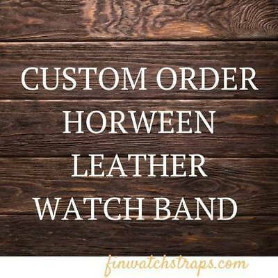 Custom Horween leather watch strap, 16mm - 26 mm. Handmade in Finland