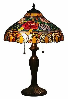 Amora Lighting AM060TL16 Tiffany Style Roses And Butterflies Table Lamp 24