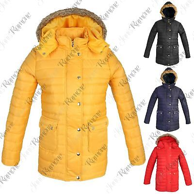 New Womens Fur Hooded Quilted Bubble Padded Long Jacket Thick Warm Puffer Coat