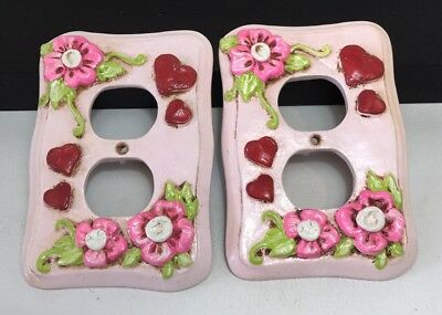 VTG Outlet plug cover plate 1970'S Mod Flower Power PINK flowers Heart 3D raised