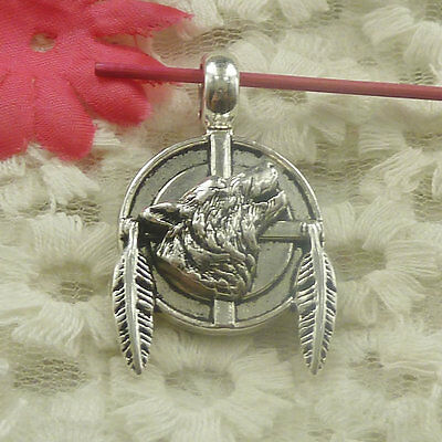 Free Ship 12 pieces Antique silver wolf leaves charms pendant 38x23mm H-4826