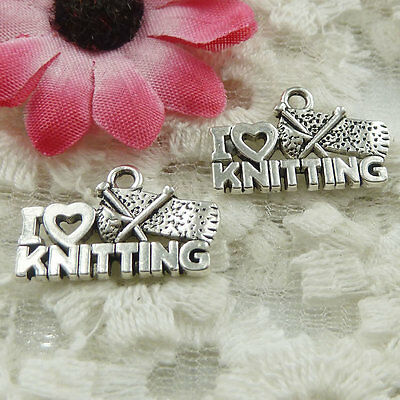 free ship 60 pieces Antique silver i love KNITTING charms 20x13mm #1934