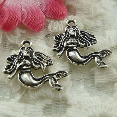 free ship 80 pieces Antique silver mermaid charms 18x16mm #1923