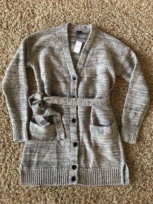 Gap Maternity NWT Gray Silver Metallic Wrap Cardigan Belt Sweater Small 4 6 New