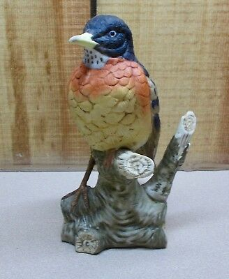 "AMERICAN ROBIN Milams Porcelain Bird Figurine Sculpture 6"" tall, by Eda Mann"