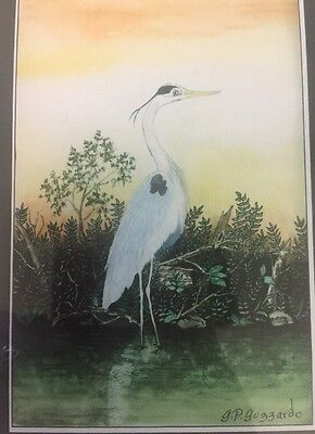 Impressionist White Heron Watercolor Painting Framed & Matted~G. P. Guzzardo-A