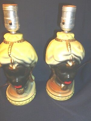Two black/gold old (Art Nevou Art Deco Nubia Lamps?) Very Nice