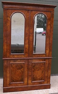 Antique Victorian Burr Walnut & Mahogany Mirrored Linen Press Wardrobe Drawers