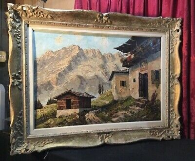 Vintage Antique Italian Oil Painting On Canvas Carved Gilted & Painted Frame