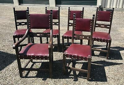 Set Of 6 Vintage Antique English Tudor Pub Jacobean Leather Dining Chairs