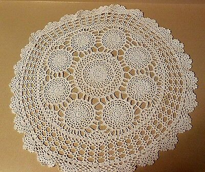 """#607 Large Vintage Crocheted Doily Round Medallions Scalloped Edge   20"""""""