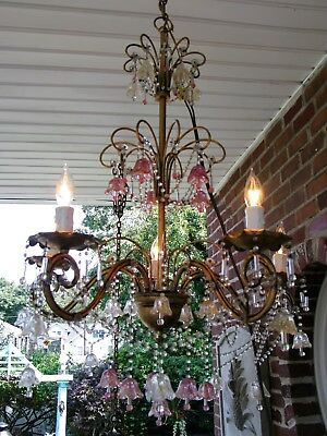 Antique VTG Italian Flower Venetian Murano Crystal Beaded Chandelier Lovely!