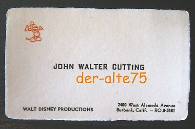 Vtg Walt Disney Prod Business Card~Disney Animator & Head Foreign Dept.