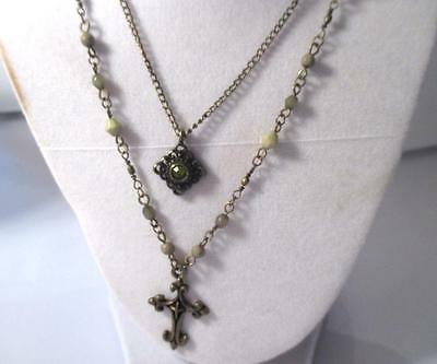 "20"" Vintage 1980's Bronze Tone Double Chain Pale Green Beads Cross Rhinestone"