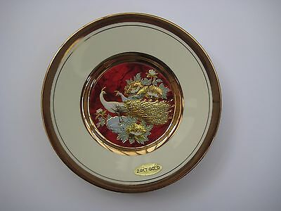 Vintage Japanese art of choking small decorative plate, peacock, 24KT Gold