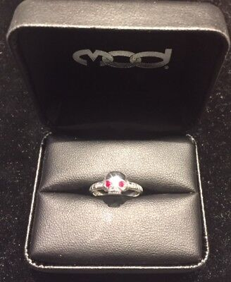 Harley Davidson Mod Sterling Silver Ladies Skull Ring With Red Stone Eyes Size 6