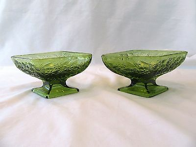 2 Vintage Indiana Glass Footed Candy Dish Bowl Diamond Shape Floral Green