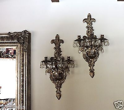Vintage Gilt Brass Wall Sconce Pair Crystal Prism Fleur De Lis French Or Italian