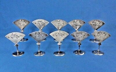10 x 19TH CENTURY CHINESE EXPORT STERLING SILVER MENU HOLDERS WITH HALLMARK