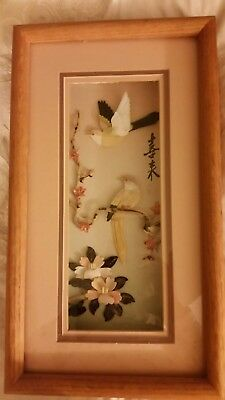 "vintage asian shell sculpted birds and floral shadowbox picture in oak 16"" × 9"""