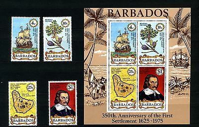 1975 Barbados Scott 428-431A First Settlement Ship Mint NH Complete Set w/ SS