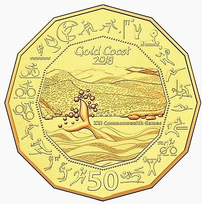 2018 50c 50 CENT GOLD PLATE UNCIRCULATED XXI COMMONWEALTH GAMES 20,000 MADE
