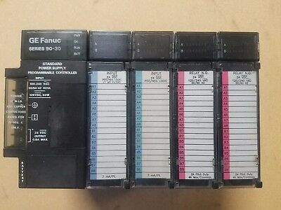 GE Fanuc Series 90-30 PLC with IC693CPU313P 5 Slot Rack w/ 4 Modules USED