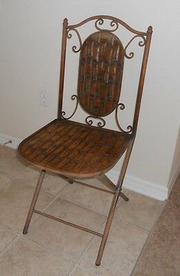 Vintage Fold up Wrought Iron metal chair antique retro older awesome design