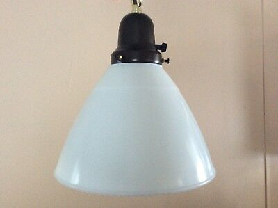 Vintage Milk Glass Pendant Light Cone Shade 1930s Industrial Textured