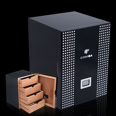 COHIBA BEHIKE Cedar Lined Cigar Cabinet Humidor 4 Drawers Black Piano Finish