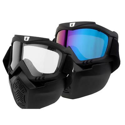 Detachable Modular Motorcycle Helmet Face Mask Shield with Goggles Eyewear